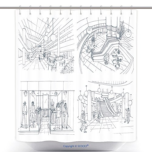 vanfan-Cool Shower Curtains Set Of Modern Interior Shopping Center Collection Various Space Mall Contour Sketch Illustration Polyester Bathroom Shower Curtain Set With Hooks(66 x 72 - Springs Cool Mall Of Map