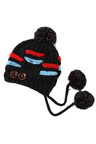Women Ladies Pom Cap Soft Earflap Cable Knitted Fleece Winter Beanie Hat  Black One Size d3298704c5