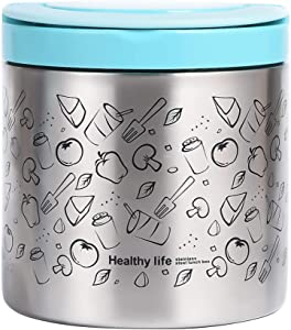 Vacuum Insulated Thermos Food Jar Lunch Thermos with Handles, Portable Stainless Steel Lunch Box Containers (Blue, 22 oz (630 ml))