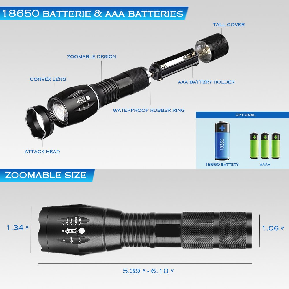 Power King Zoomable Adjustable Focus 5 Modes Flashlight LED Tactical Flashlight Rechargeable Waterproof Adjustable Military Tac Light