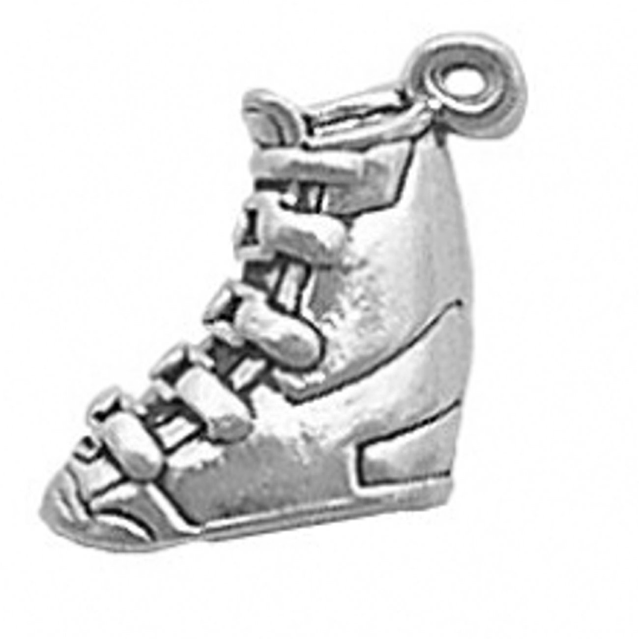 Sterling Silver Girls 20'' .8mm Box Chain Ski Boot Pendant Necklace
