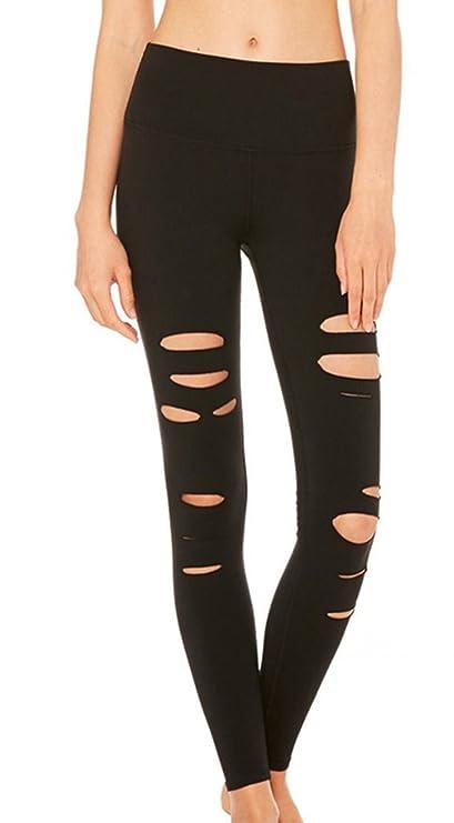 Sexy Damen Schwarz Yoga Pants Ripped Hollow Out Cut Yoga Hosen Jogging Hose  Sporthose: Amazon.de: Bekleidung