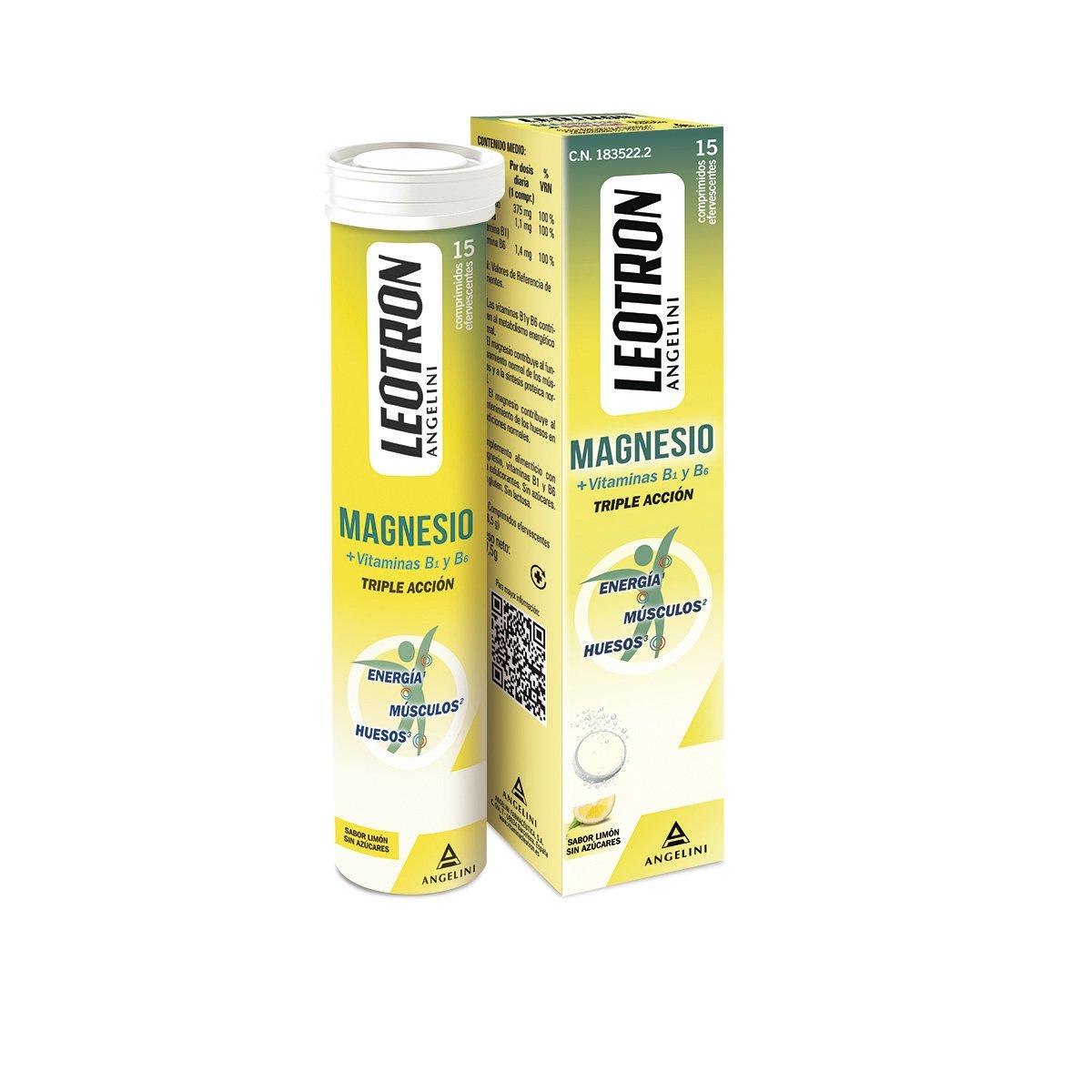 Leotron Magnesio con Sabor Limón - 4 Paquete de 15 Comprimidos: Amazon.es: Salud y cuidado personal