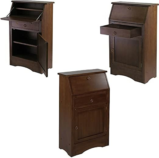 Amazon.com: Small Secretary Desk with Drawer and Shelves ...