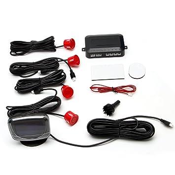 facebabyone coche pantalla LCD 4 sensores de aparcamiento marcha atrás copia de seguridad Kit Sistema de Radar Detector de coche: Amazon.es: Electrónica