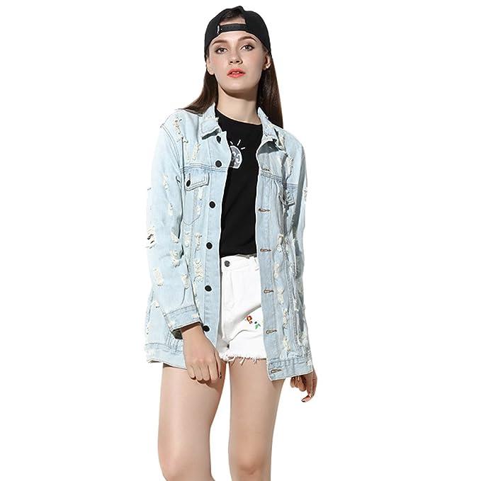 YAANCUN Mujer Otoño Sexy Diseño De Agujero Chaquetas Jacket De Mezclilla Abrigo Denim Jacket: Amazon.es: Ropa y accesorios