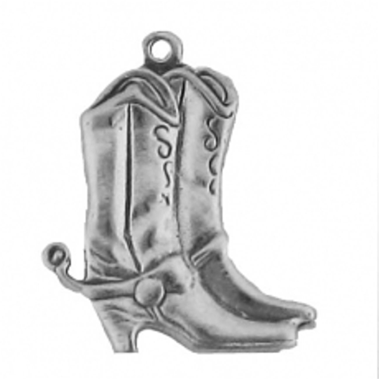 Sterling Silver Girls 24'' .8mm Box Chain Large Thin Cowboy Boots Pendant Necklace