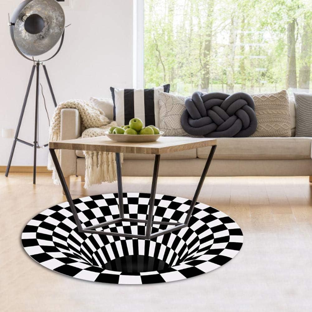 Velvet Visual Illusion Shaggy Rug Round Carpet Durbale Anti-Slip Floor Mat Non-Woven Doormat for Lvining Bedroom Decoration Round 3D Carpet Floor Mat Area Rug