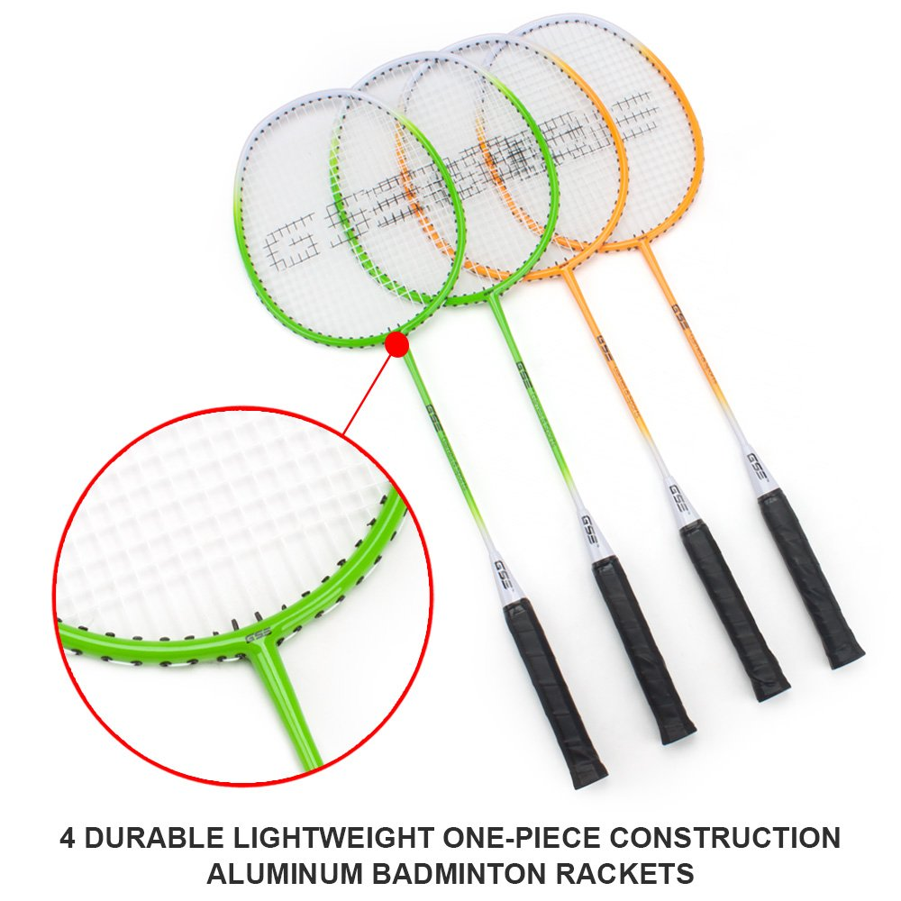 GSE Games & Sports Expert Professional Portable Badminton Set. Including Badminton Net System, 4 Badminton Racquets & 3 Nylon Shuttlecocks by GSE Games & Sports Expert (Image #3)