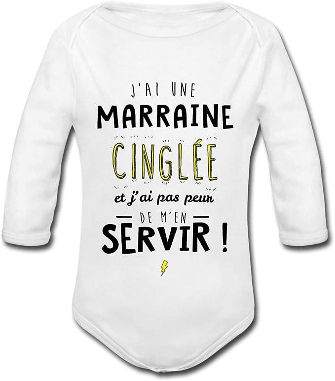 Spreadshirt J Ai Une Marraine Cinglee Body Bebe Bio Manches