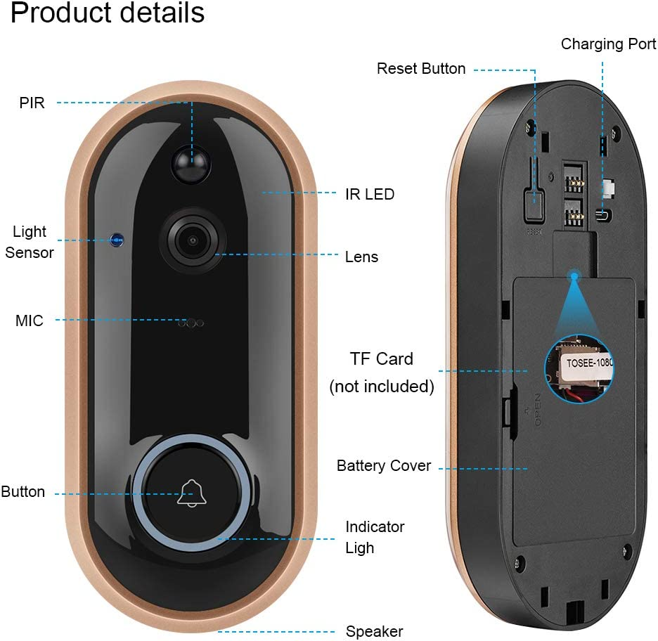 NewPal Smart Video Doorbell Wireless Home doorbell 1080P Camera with 2 Rechargable Batteries and Indoor Chime Included, 2-Way Talk, Night Vision