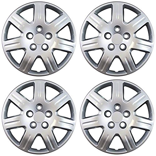 Hubcaps for Honda Civic (Pack of 4) Wheel Covers - 16 Inch, 7 Spoke, Bolt On, Silver (For Center Caps Honda Civic)