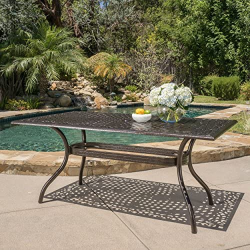 Home Styles Biscayne Black Oval Outdoor Dining Table with Hand-Applied Black Antique Finish, Adjustable Nylon Glides, UV-Resistant Coating, Cast Aluminum, and Water Shedding Design