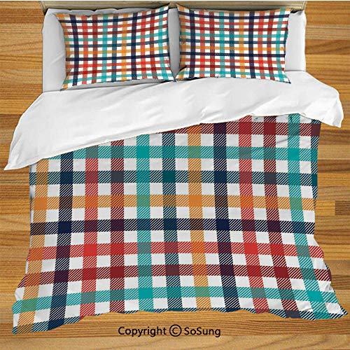 Checkered King Size Bedding Duvet Cover Set,Colorful Fresh Summertime Pattern Design Gingham Plaid Striped Traditional Picnic Decorative Decorative 3 Piece Bedding Set with 2 Pillow Shams,Multicolor ()