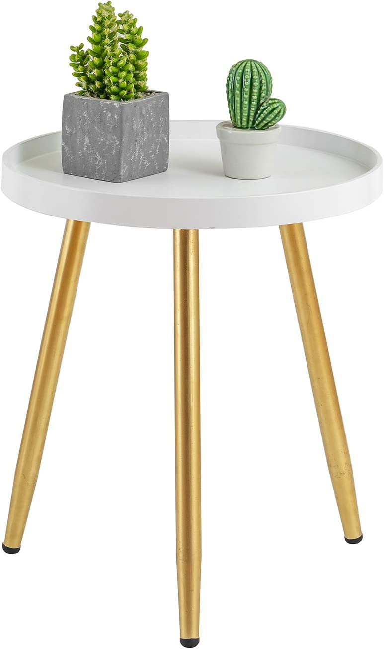 "HuiDao Round Side Table Wooden Tray Table with Metal Tripod Stand Nightstand Coffee Table End Table for Living Room Bedroom Office Small Spaces, 18"" H x 15""D (White & Gold)"