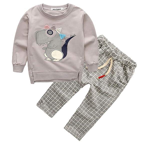 7c4f1b1b0 Mitlfuny Niñas Niño Sudaderas Rejilla Pantalones Conjunto de Ropa Bebé  Dinosaurio Dibujos Animados Camisas de Manga Larga para Niña Niños 1-4 Años  Primavera ...