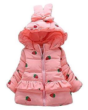 83b8a1d27 Arrowhunt Baby Girls Winter Warm Long Sleeve Strawberry Hooded ...