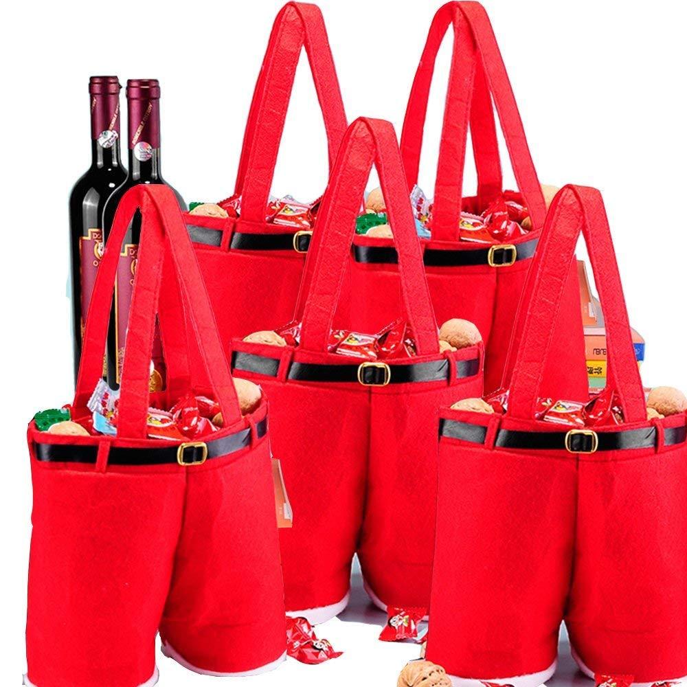 Msq regali borse decorazioni 5PCS grande bottiglia di vino rosso sacchetti regalo sacchetti di caramelle pantaloni Santa Claus per casa festa di nozze tabella decorazioni (grande, pezzi)