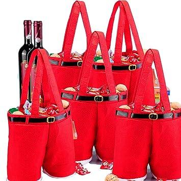 MSQ - Bolsas de regalo para boda (5 unidades), diseño de Papá Noel, color rojo: Amazon.es: Hogar