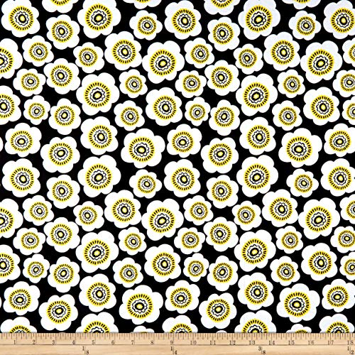 (Wilmington Prints Sunny Days Packed Daisies Fabric, Black, Fabric By The Yard)