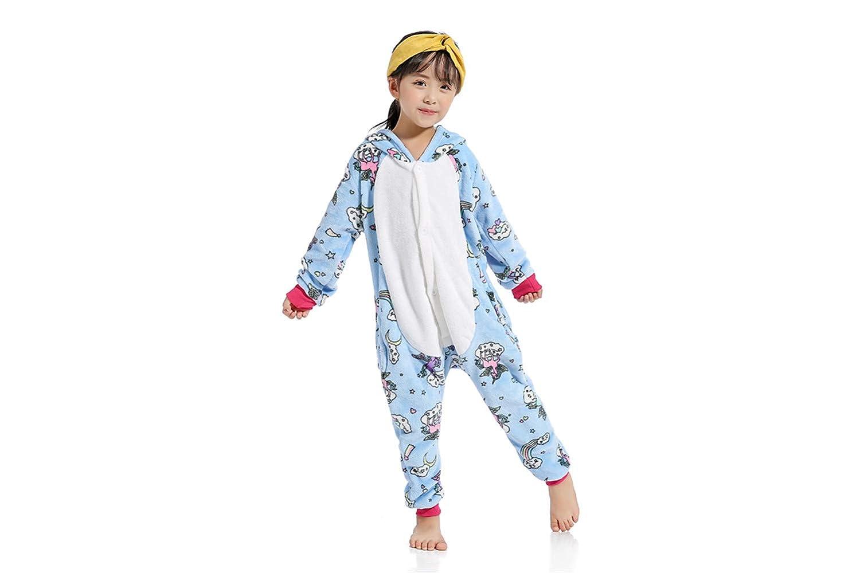 Lovelysi Pigiama Unicorno per Bambino Aggiorna Flanella Cappuccio Pigiama Intera Sleepwear 3D Anime Costume per Compleanno Regalo Carnevale Cosplay Onesies Ringraziamento Easter Festa Halloween Party