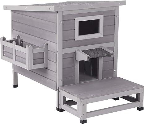 Aivituvin Cat House Outdoor Kitty Shelter Indoor Cat Condo Waterproof With Escape Door Flower Box Balcony Pet Supplies