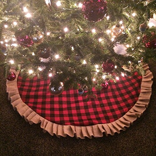 - Buffalo Plaid & Natural Burlap Ruffled Christmas Tree Skirt
