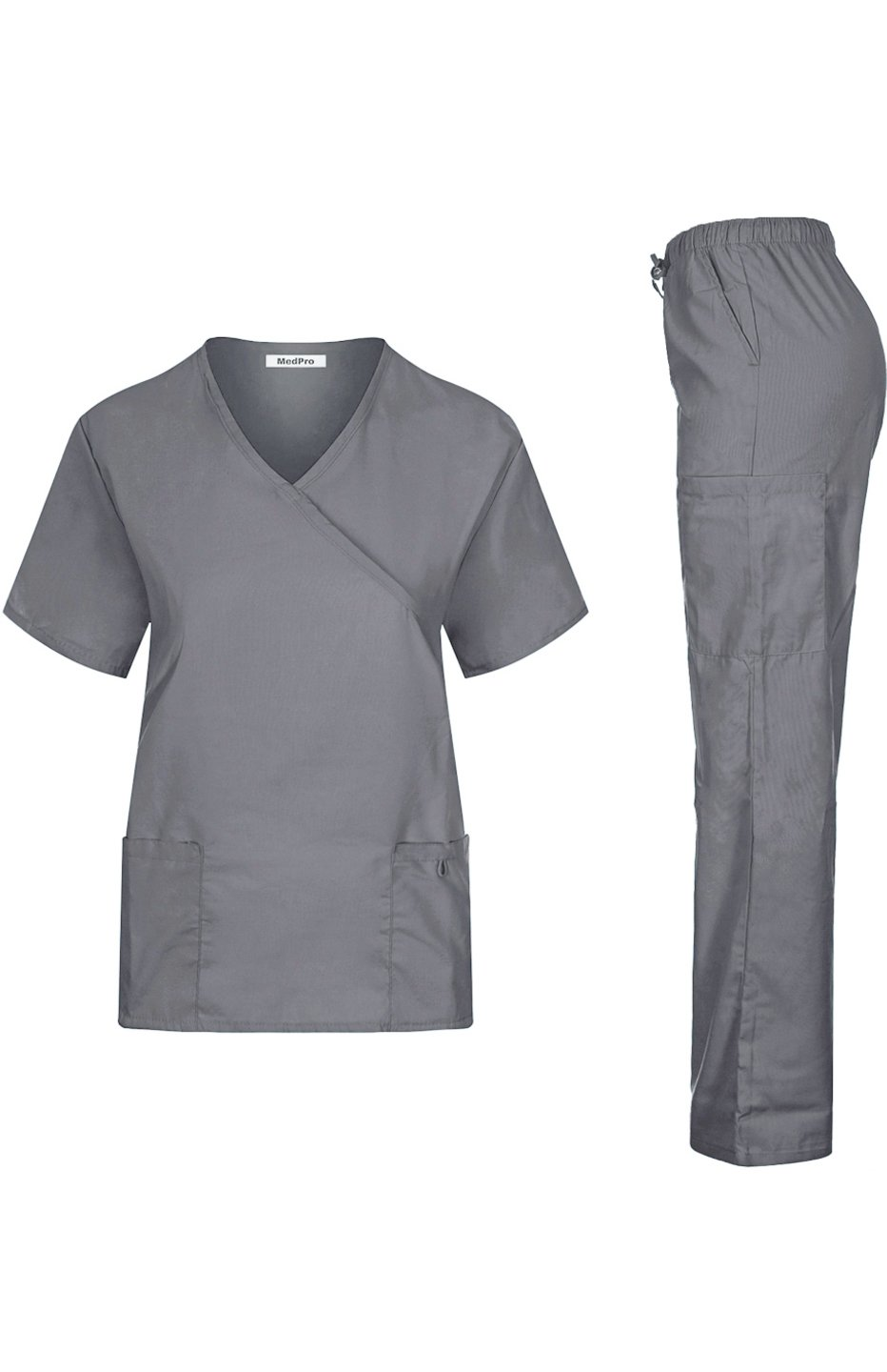 MedPro Women's Solid Medical Scrub Set Mock Wrap Top and Cargo Pants Light Grey S