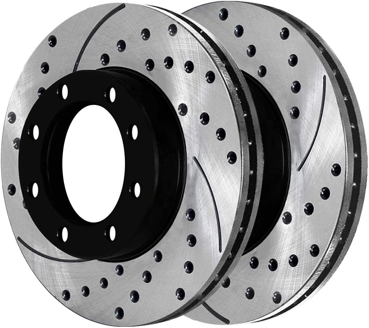 Auto Shack SCD784PR65058 2 Front and 2 Rear Performance Brake Rotors and 8 Ceramic Brake