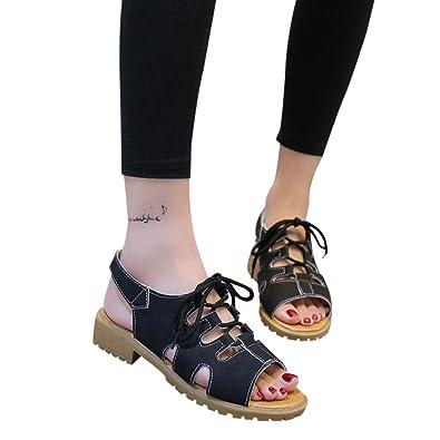 c14c8c68c548e SANFASHION Sandales Femmes Vintage Peep Retourner Flops Plate Shoes  Romaines Creux Bande Chaussures Mode 34-