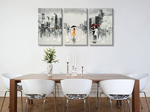 Abstract People Cityscape Oil Painting on Canvas Wall Art Black and Whit Artwork Hand Painted Modern Home Decoration for Living Room Framed Ready to Hang 72 W x 36 H 24 x 36 x 3 pcs