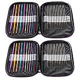 WZT 44pcs Mixed Aluminum Handle Crochet Hook Knitting Knit Needle Weave Yarn Set
