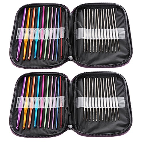 WZT 44pcs Mixed Aluminum Handle Crochet Hook Knitting Knit Needle Weave Yarn Set by WZT