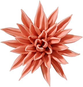 ALYCASO Starfish Ceramic Flower Wall Décor Artificial 3D Flower Wall Art for Living Room Home Hallway Bedroom Kitchen Farmhouse Bathroom Dining Room (3.15 inch, Orange)