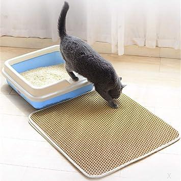 Authda Alfombrilla de arena para gatos, doble capa impermeable no tóxica duradera para mantener el