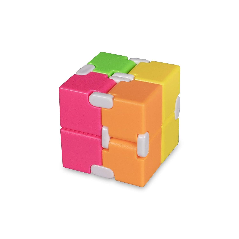 Windy City Novelties Multi Color Infinity Cube Fidget Toy for Kids