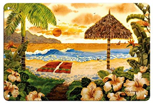 Pacifica Island Art 8in x 12in Vintage Tin Sign - Two Towels - Beach Ocean View - Hawaii - Hawaiian Islands by Robin Wethe Altman