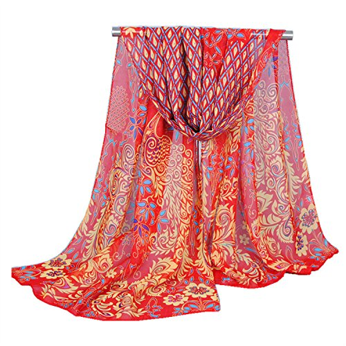 Embroidered Gauze - Church Veil Shawl Wrap Women Gauze Embroidered Peacock Scarf (Red)