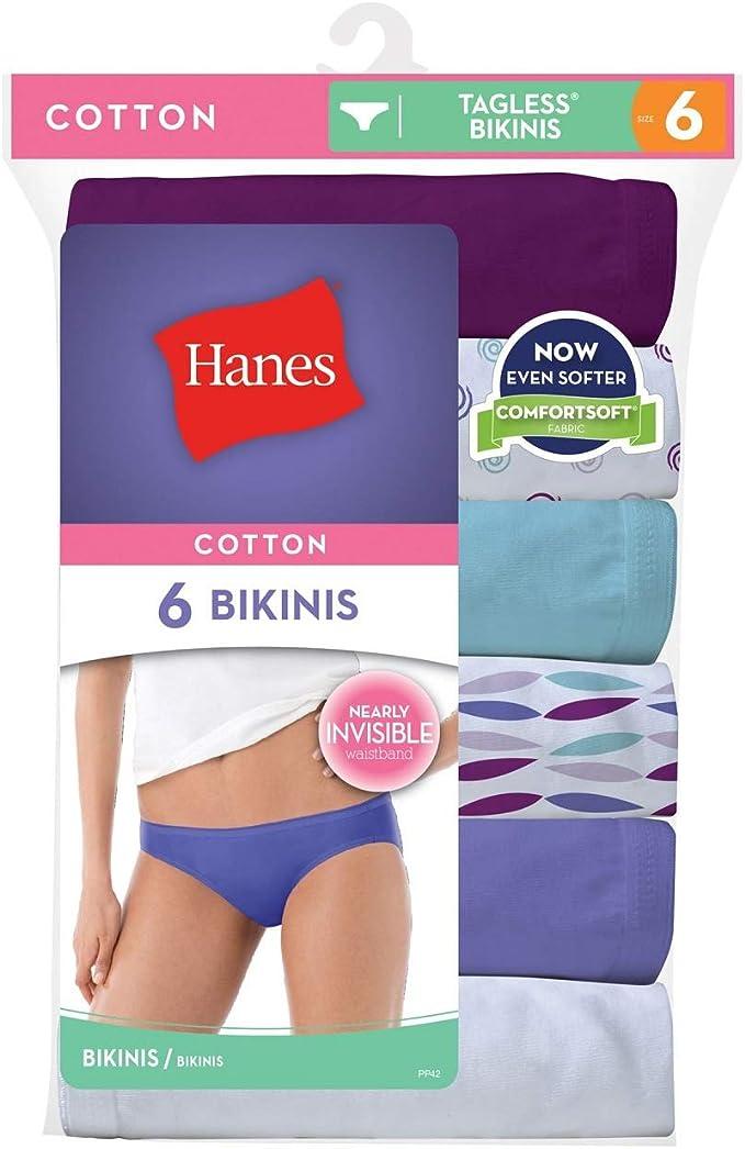 Hanes Mujer no Ride Up algodón Bikini, Talla XXXL y XXXXL, diseño de Colores (Pack de 6): Amazon.es: Hogar