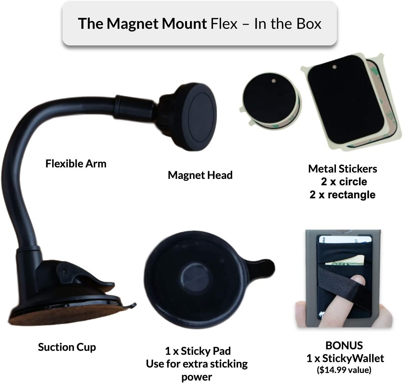 New 2-in-1 Flexible Magnetic Car Mount for Any Phone Universal: iPhone 11 Pro Xs Max X Xr 8 7 6 Plus Samsung S10 S9 Note 10 etc Strong Car Windshield or Dash Suction Cup Flexible Long Arm