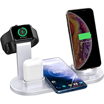 SHRMIA Wireless Charger Stand, 4 in 1 Multi-Function Wireless Charging Station Dock Kit for Apple Watch Airpods, Qi Fast Wireless Charger Holder Pad for iPhone 11 11 Pro Max XS XR 8 Samsung (Silver)