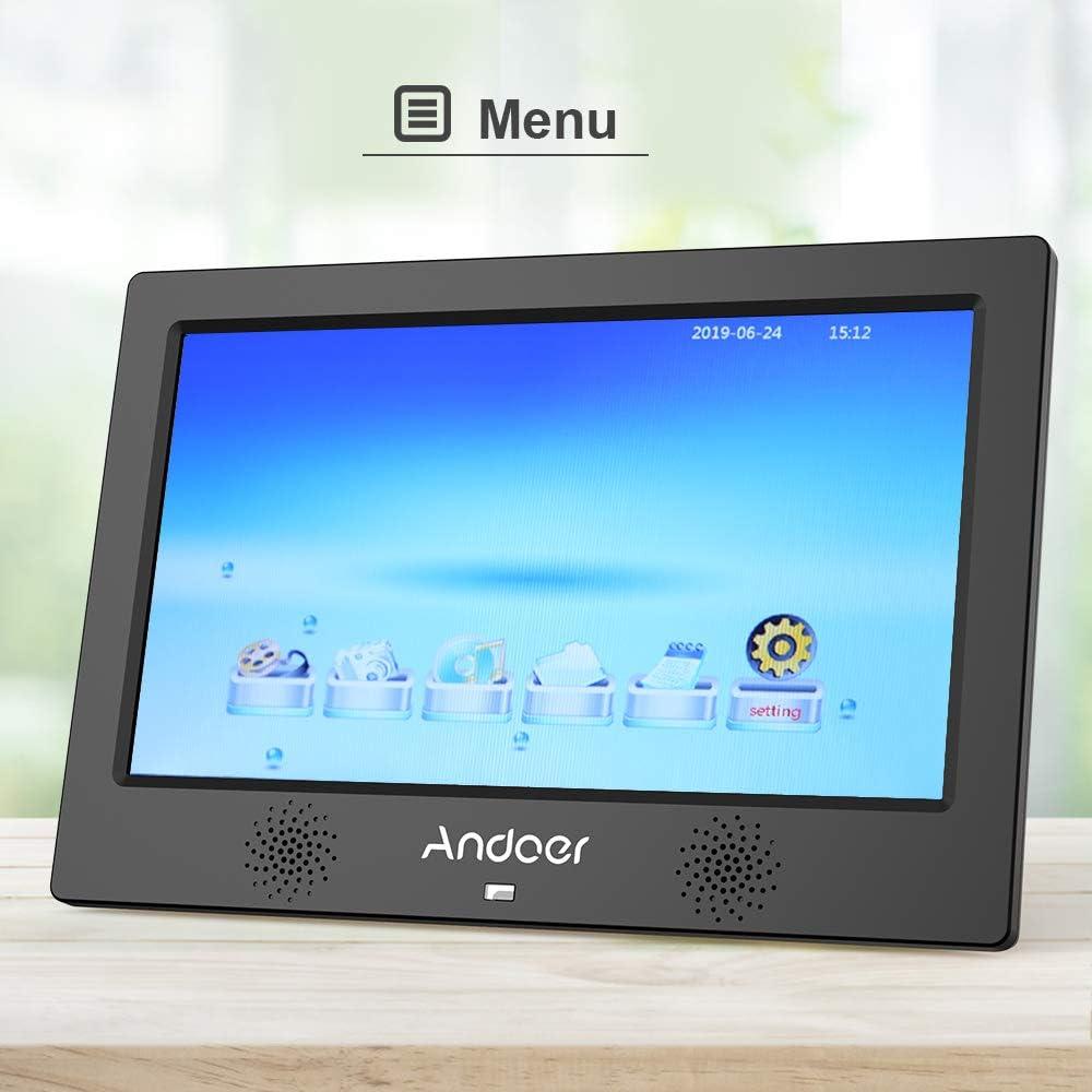 Andoer 10,1 Zoll Digitaler Bilderrahmen 1024x600 Aufl/ösung Bildschirm Unterst/ützung Kalender//Uhr//Wecker//Foto//Musik//Video mit Fernbedienung+8 GB Speicherkarte Sch/önes