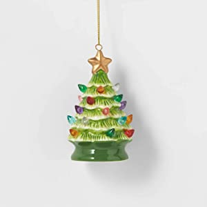 Wondershop Ceramic Christmas Tree Lighted Ornament Retro Lit (Green)