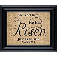 Easter Decoration Sign - He is not here He has Risen Just as he said Burlap Print, Easter religious gifts - (Frame not Included)