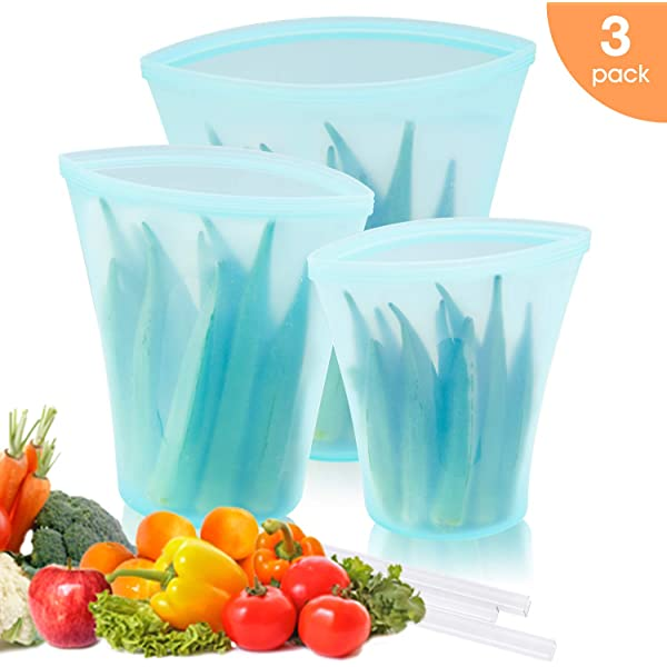 3Pcs Zip Stand Silicone Top Leakproof Containers Reusable Food Storage Bags