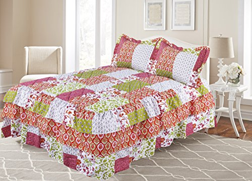 All American Collection New 3pc Bedspread/Quilt Set with Attached Bed Ruffle/Skirt (Cal King Size, Burgundy/ Orange) (Print Reversible Skirt)