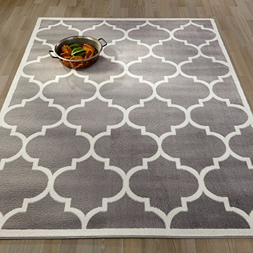 "Ottomanson Paterson Collection Contemporary Moroccan Trellis Design Lattice Area Rug, 94"" W, Grey"