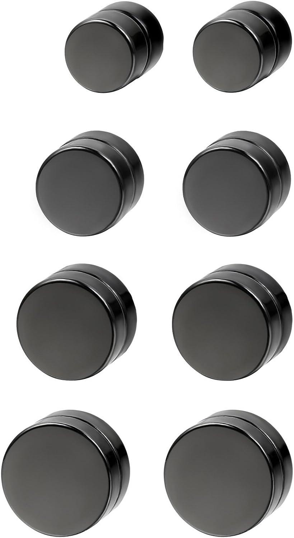Flongo Joyería 6-12mm Pendientes hombre mujer, Non piercing negros pendientes de iman, estilo Hip Hop redondos pendientes pequeños, Aretes Atractivos