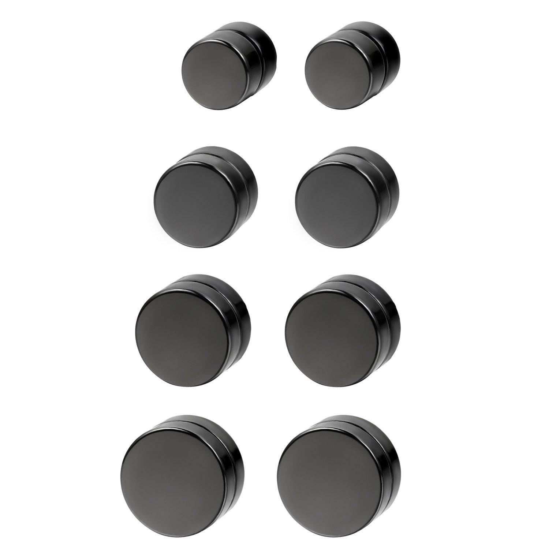 Flongo Men's Women Punk 12mm Stainless Steel Black Magnetic Non-piercing Clip Fake Cheater Stud Earrings by Flongo (Image #4)