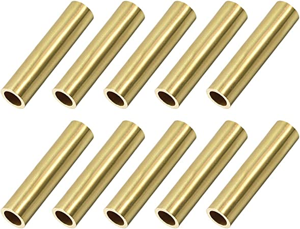 Brass Round Tube 300mm Length 9mm OD 1mm Wall Thickness Seamless Tubing 2 Pcs